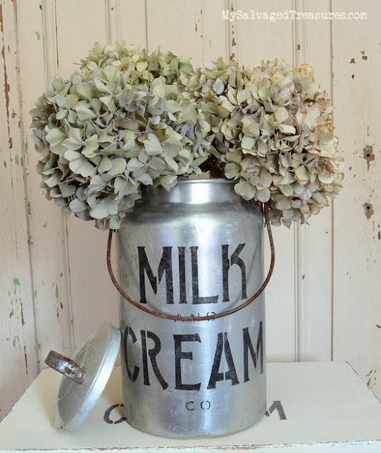 Add charm to a plain stool and milk can with stencils.