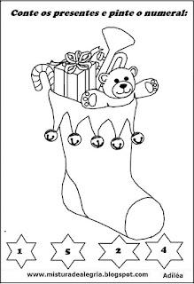 Desenho bota natal colorir