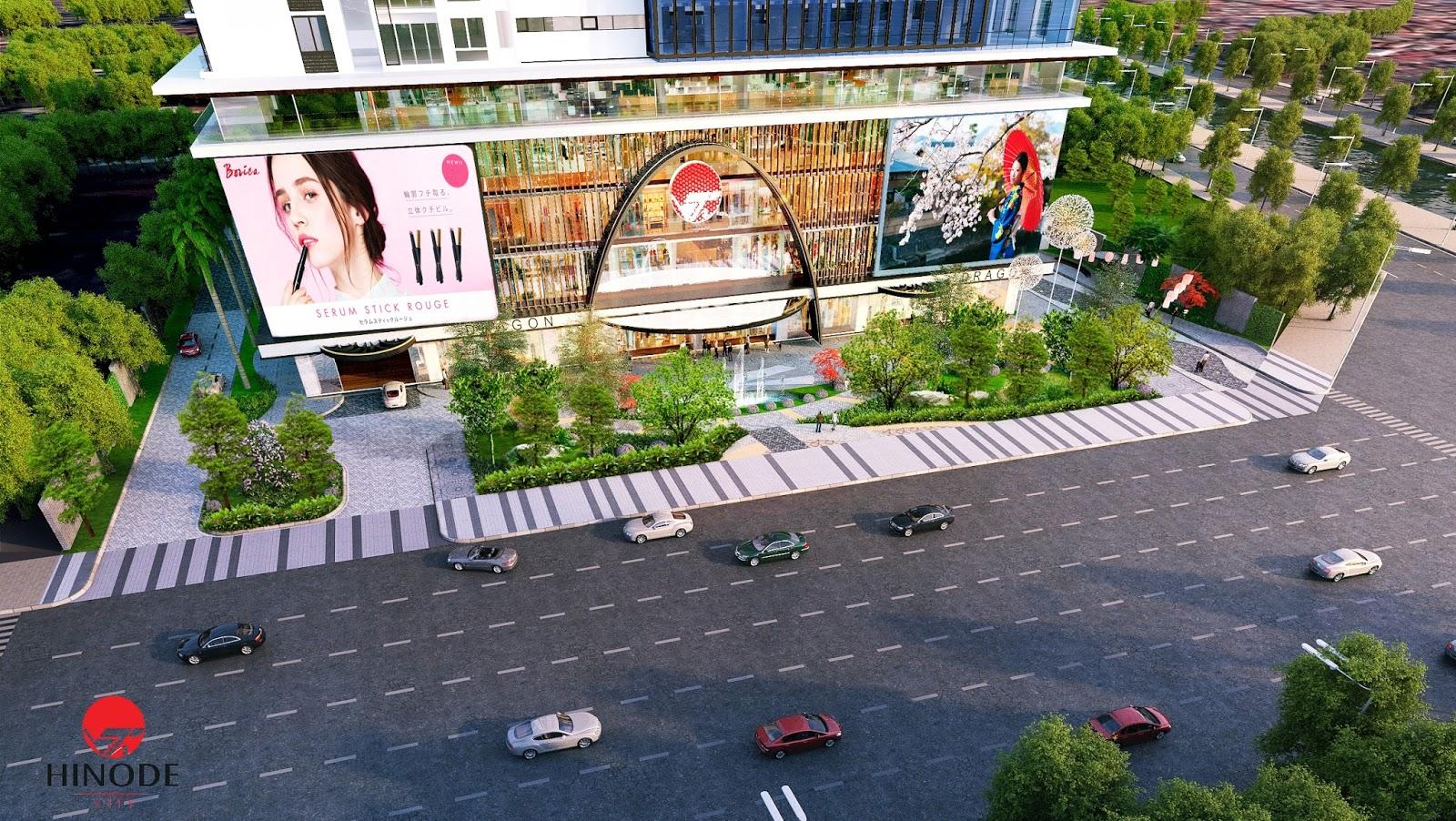 Không gian xung quanh toà chung cư Hinode City Minh Khai