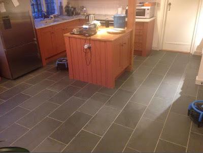 Finished slate floor