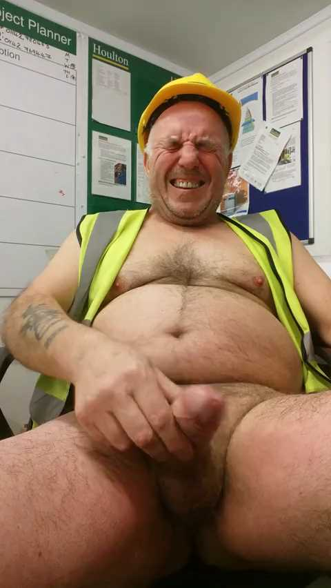 Older Hairy Construction Worker Solo - Working late ...