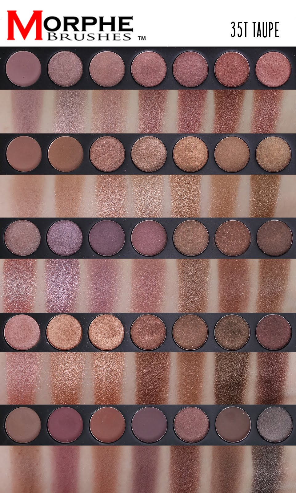 Swatches Of The Koko Kollection By Kylie Cosmetics And: Morphe Brushes 35T Palette