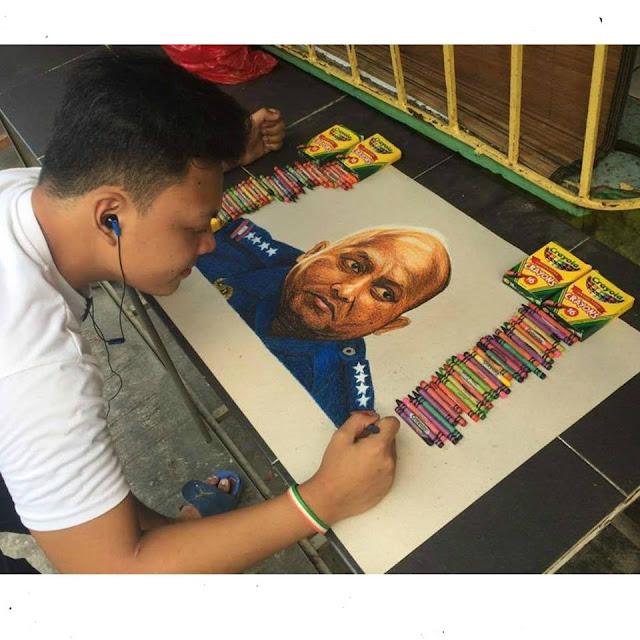 Artist Shares Beautiful Crayon Drawings Of PNP Chief 'Bato' Dela Rosa