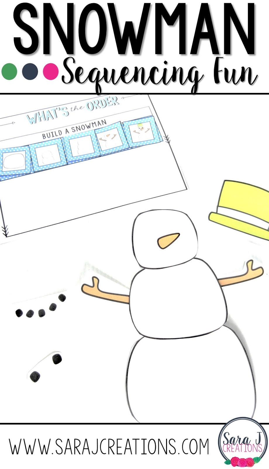 Cute ideas for teaching preschoolers how to build a snowman.  A great way to practice sequencing skills.
