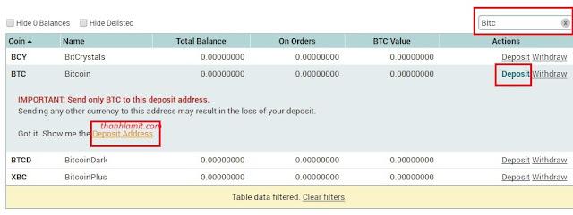Nạp Bitcoin vào Poloniex