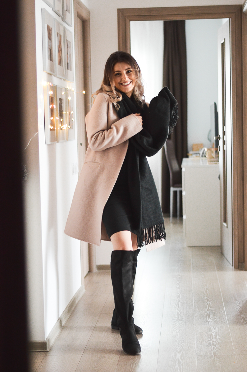 pink coat with black scarf and black bodycon dress outfit