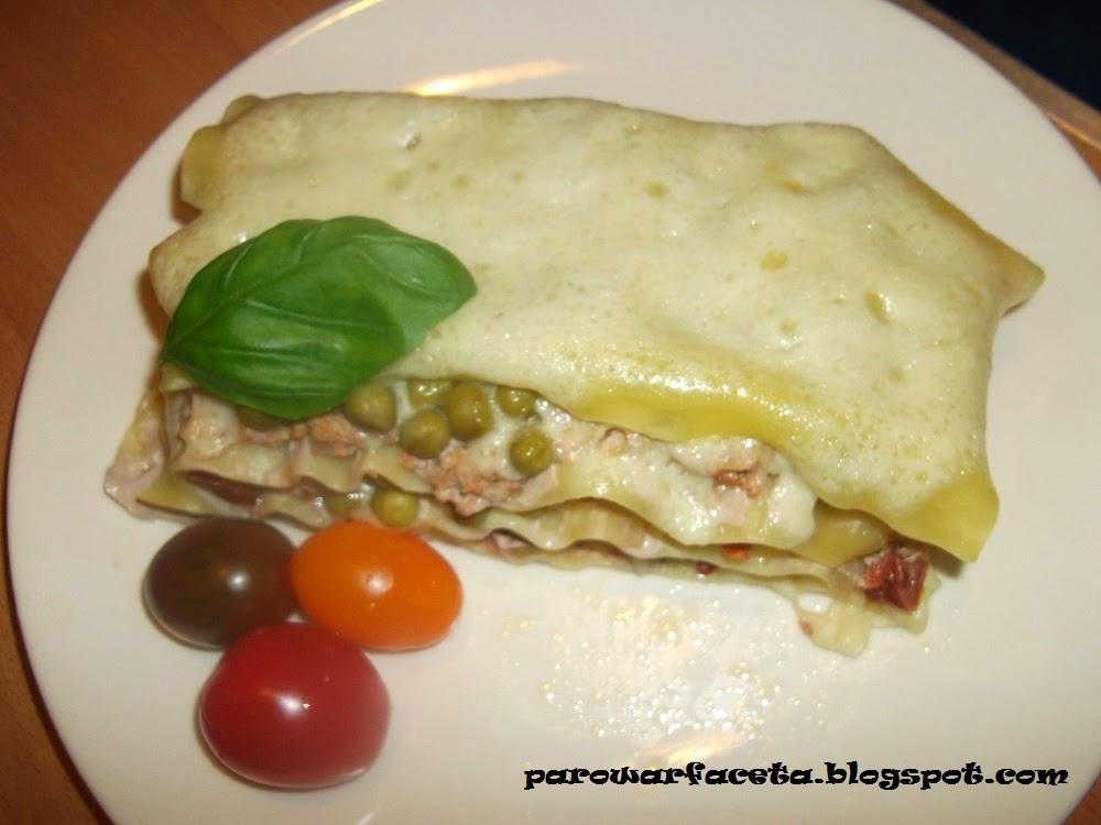 Lasagne z groszkiem z parowaru