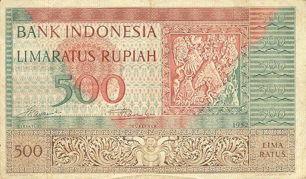 500 rupiah 1952 depan