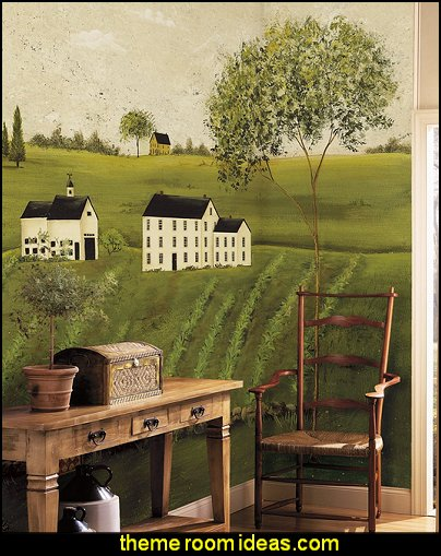 primitive americana Countryside Mural  primitive americana decorating style - folk art - heartland decor - rustic Americana home decor - Colonial & Country style decorating Americana bedroom designs - Primitive Country Rustic decor
