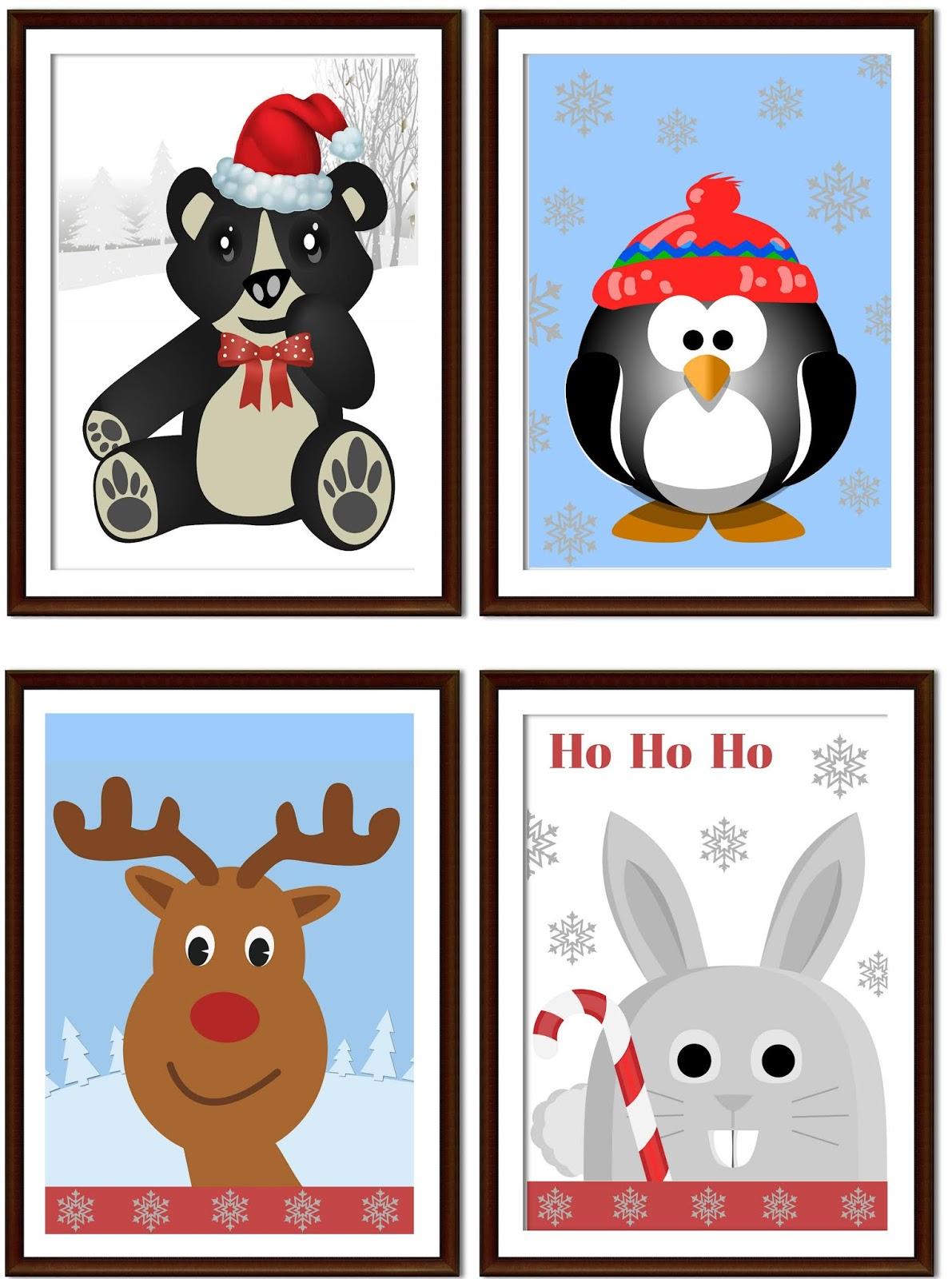 plakaty dla dzieci zima święta do druku