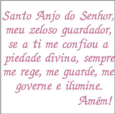 Oração Santo Anjo tamanho 10cm x 10cm - Bordado Grátis