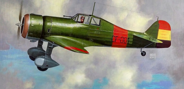 Fokker D.XXI por Carlos Alonso Aviationart