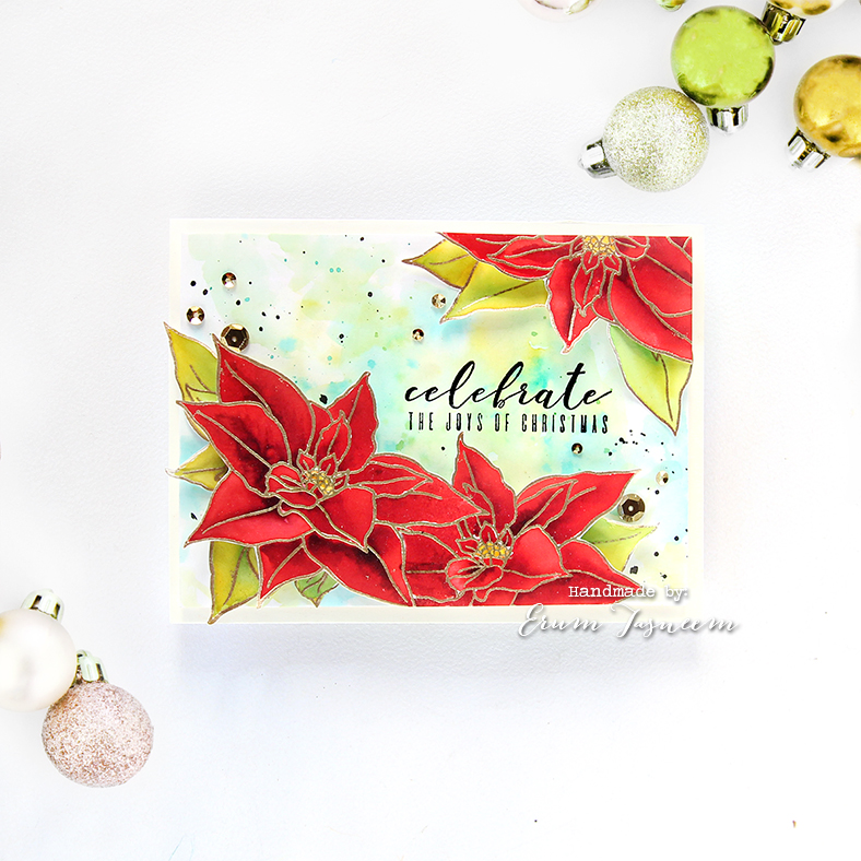 Altenew Build A Flower Poinsettia watercoloured with distress inks + Antique Gold crisp embossing powder | Erum Tasneem | @pr0digy0