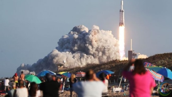 people gathered to watch Falcon Heavy launch