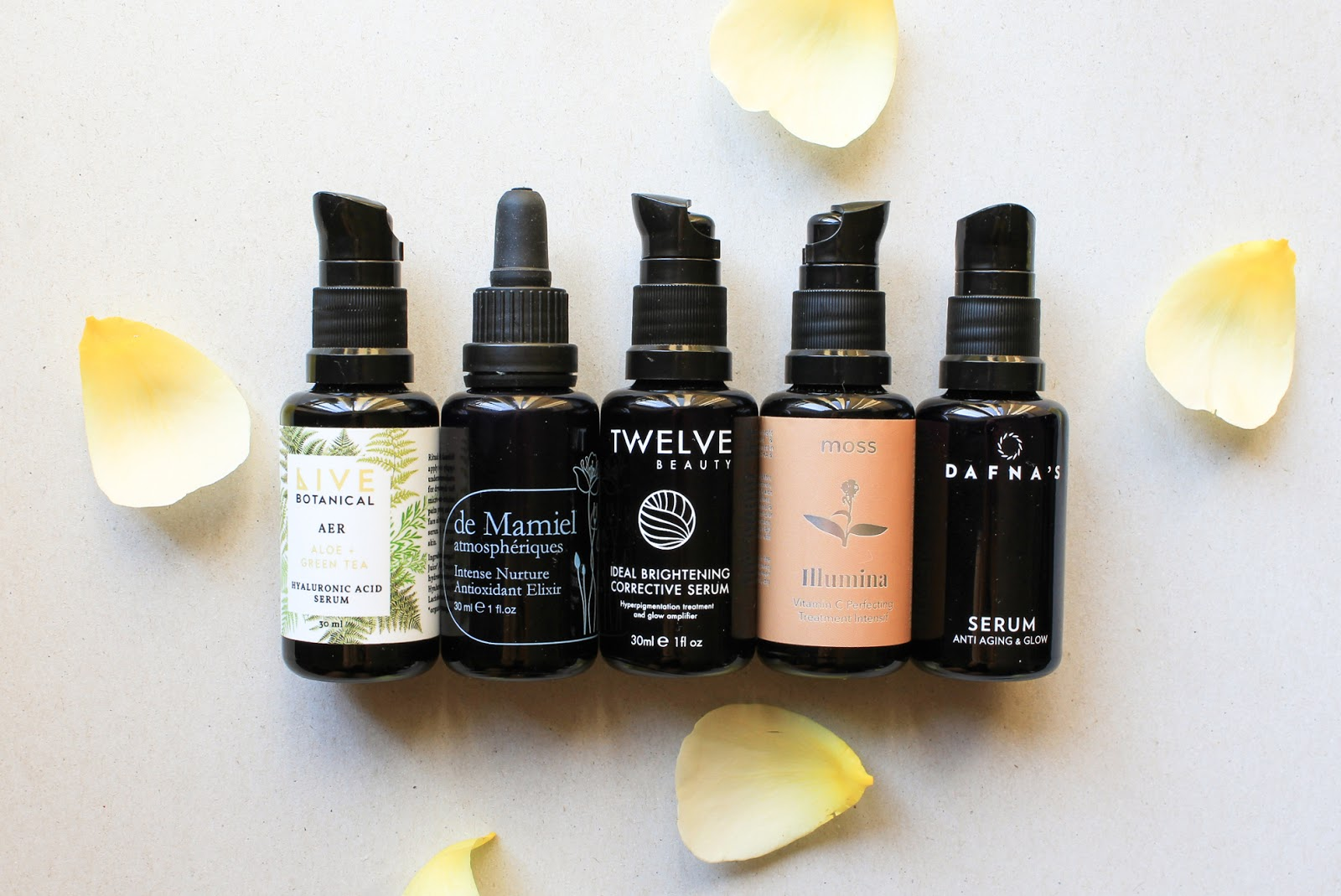 Natural and Organic Serums. Live Botanical, de Mamiel, Twelve Beauty, Moss Skincare, Dafna's Personal Skincare