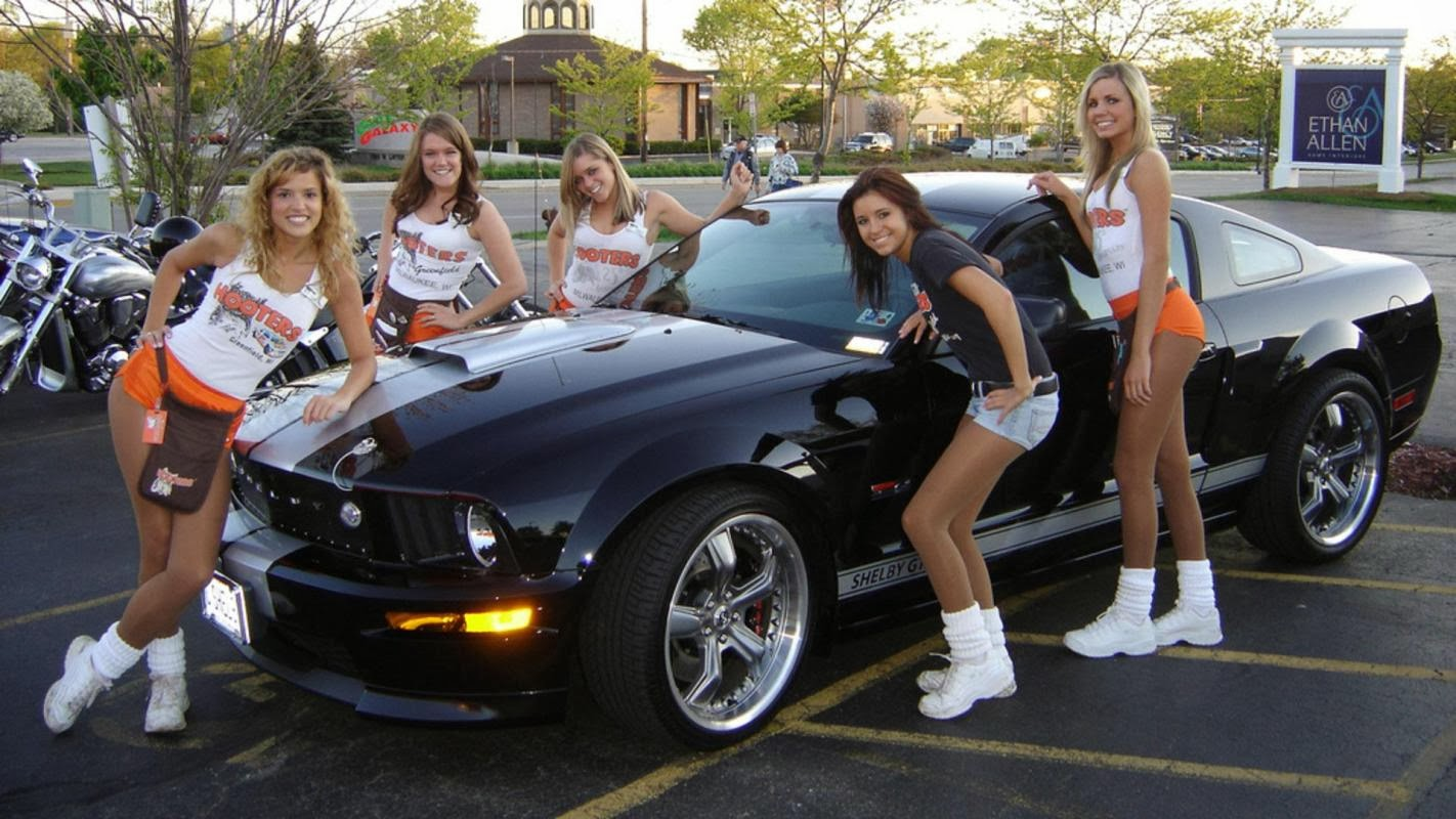 naked girl with mustang gt