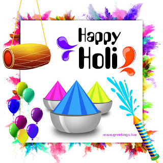 happy holi wishes with all colors balloons tabla color gun