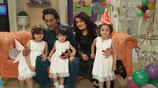 Adnan Shah Tipu with his wife and daughters
