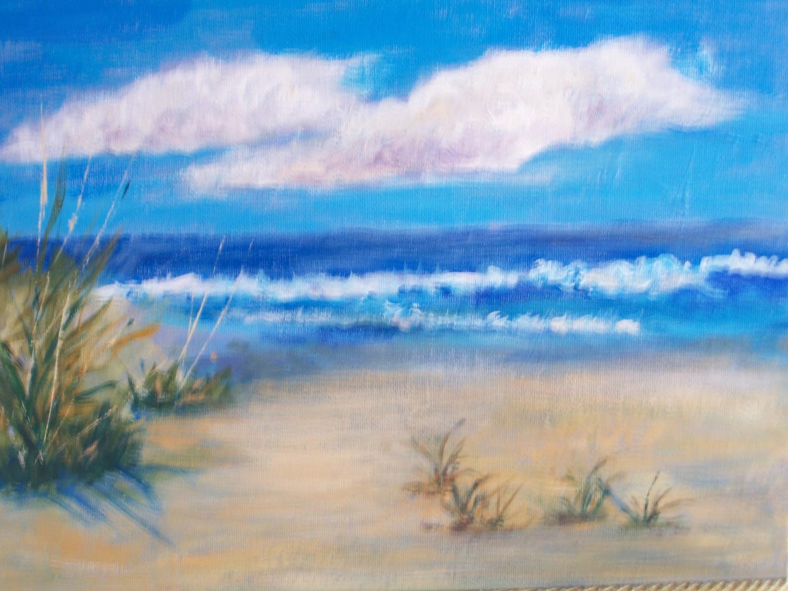 Florida Beach Scene Acrylic 9 X 12 Canvas Board Madeline Reilly
