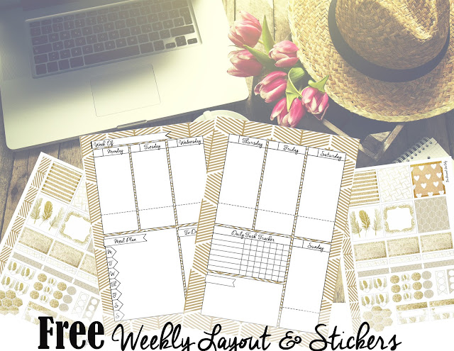 Free Printable Download Mini Happy Planner and Personal Sized Stickers - Gold and White Glitter