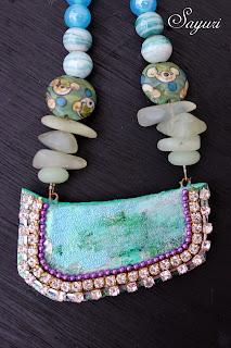 beaded neckalce with paper pendant by Sayuri