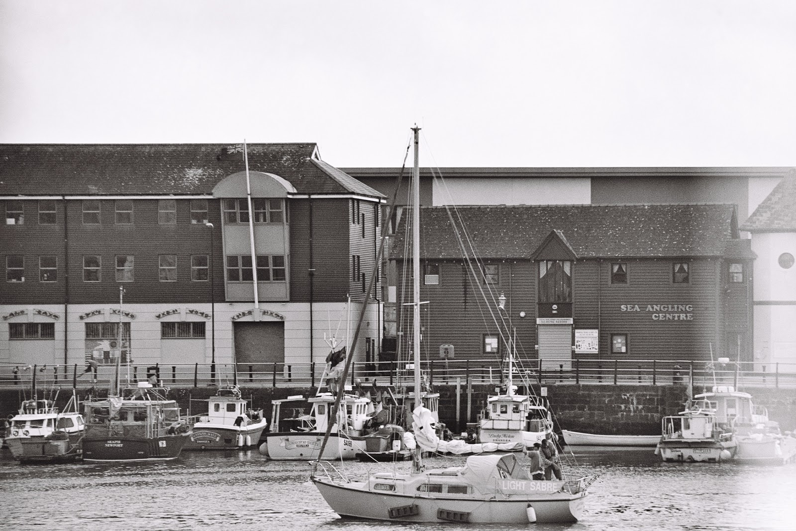 Swansea Marina, Black and white photography