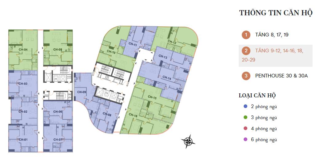 Mặt bằng tầng 9-12, 14-16, 18, 20-29 chung cư Manhattan Tower