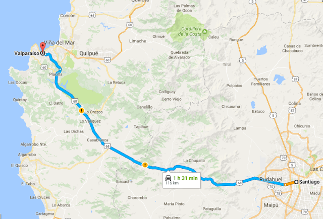 Trajeto da viagem de carro de Santiago a Valparaíso