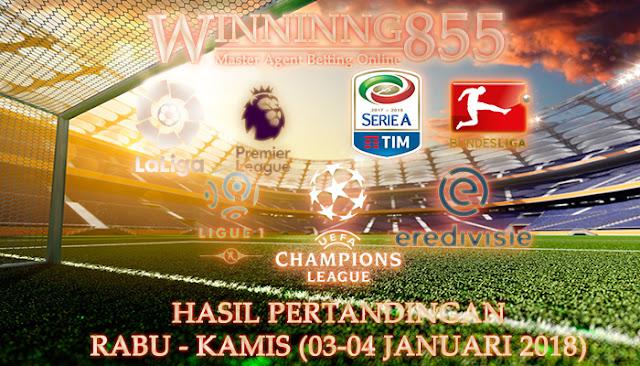 Hasil Pertandingan, Rabu - Kamis (03-04 Januari 2018)