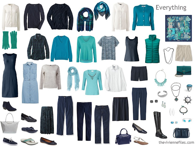 24-piece capsule wardrobe in navy, beige, turquoise and jade
