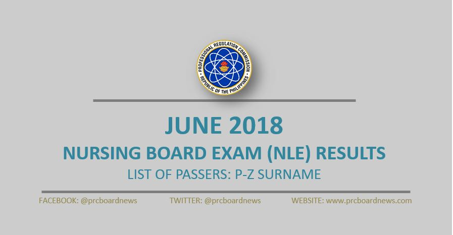 P-Z LIST OF PASSERS: June 2018 NLE Results