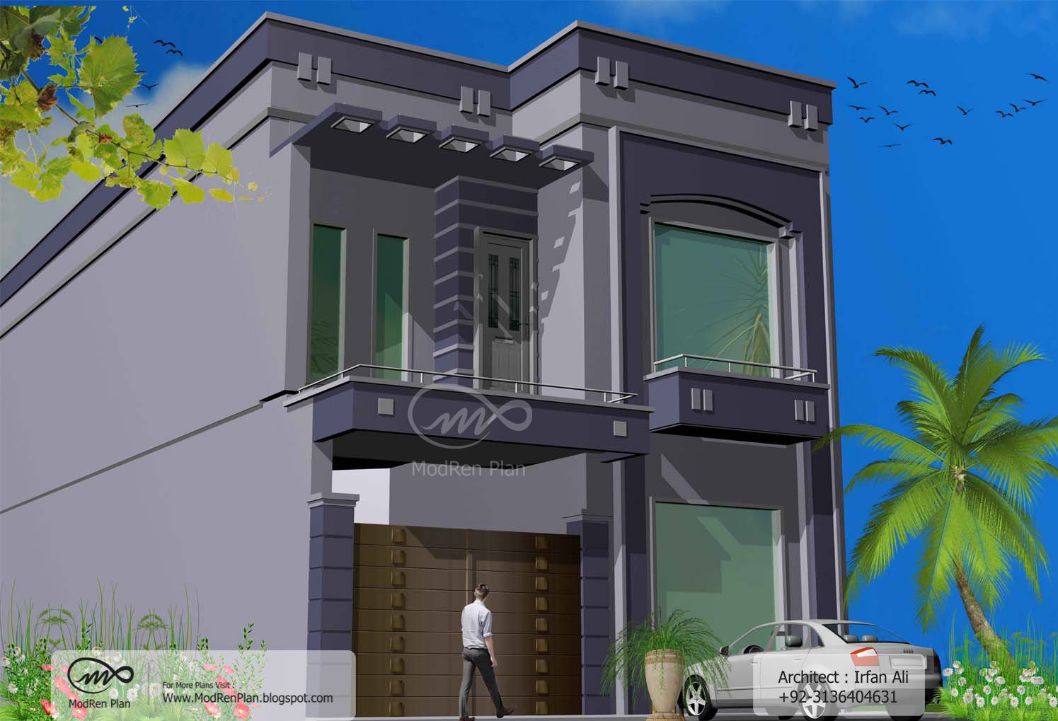 Indian home design 5 marla front elevation for Normal home front design