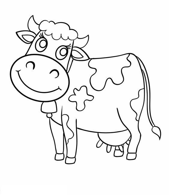 Tranh tô màu con bò sữa cho bé 5 tuổi