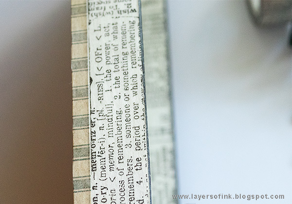 Layers of ink - Miniature Bookshelf with Handmade Books Tutorial by Anna-Karin with Tim Holtz Design Tape