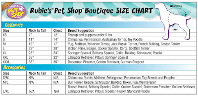 Dog costume sizing chart for Minions costume