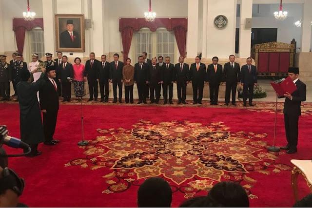 Suasana pelantikan Irjen Heru Winarko oleh Presiden Joko Widodo di Istana Negara Jakarta
