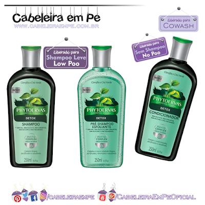 Linha Detox Phytoervas (Pre-Shampoo e Shampoo liberados para Low Poo, Condicionador liberado para No Poo e Cowash)