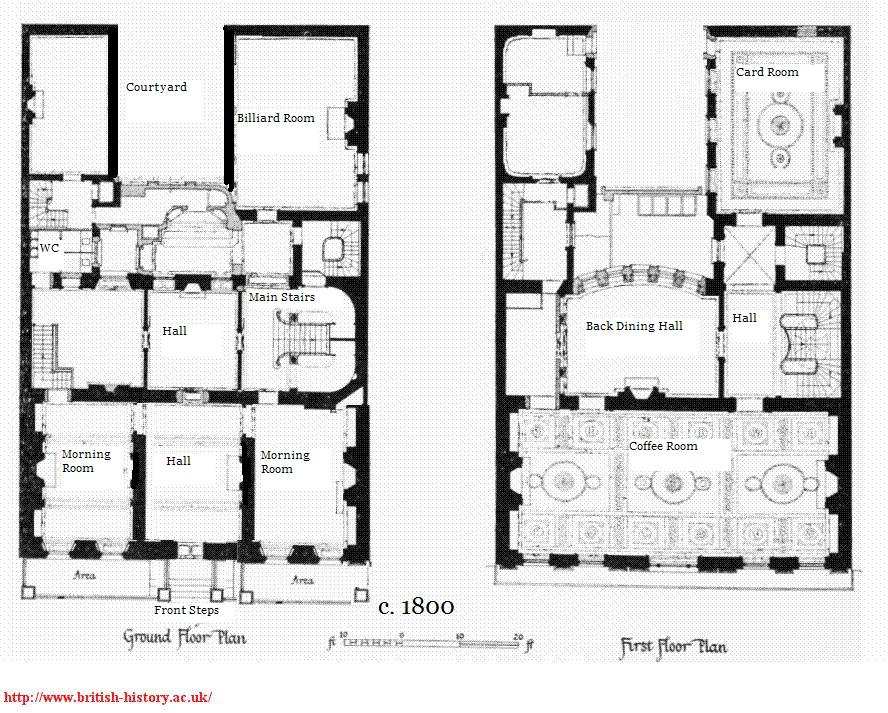 Layout of Whiteu0027s Interior, 1800 Regency - Gentlemenu0027s Clubs - survey form