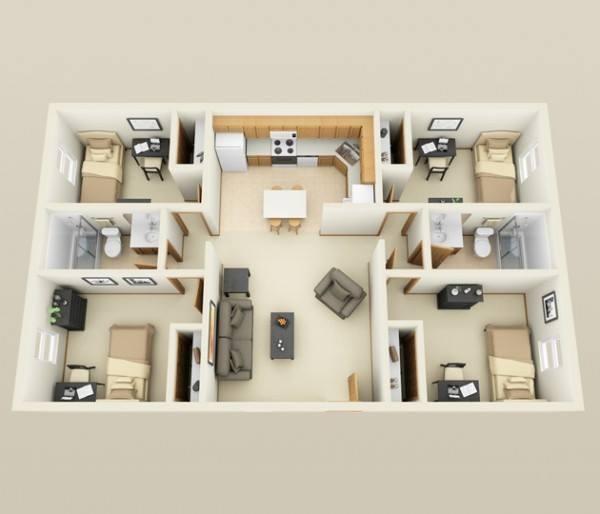 30+ Pelan Rumah Banglo Setingkat 4 Bilik, Moden Minimalis