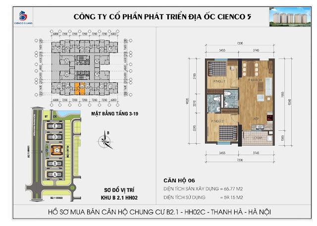 Mặt bằng căn hộ số 06 tòa HH02C - B2.1 Thanh Hà Mường Thanh
