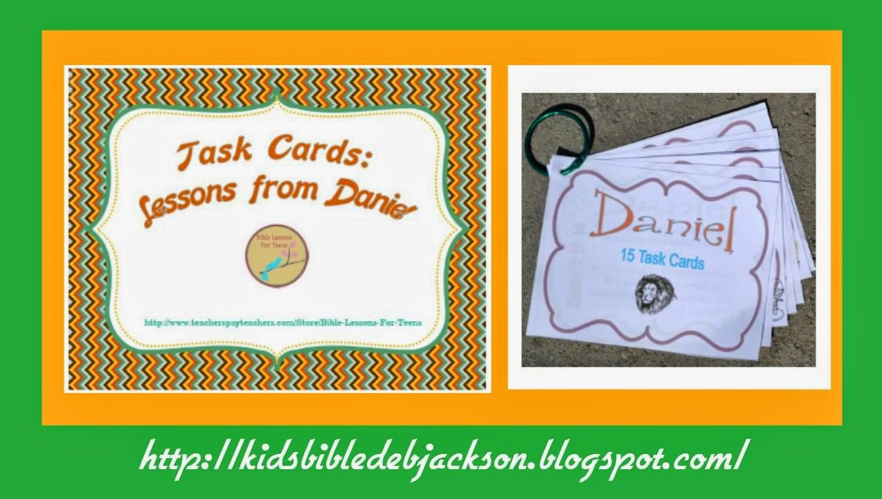 http://www.teacherspayteachers.com/Product/Bible-Task-Cards-Lessons-from-Daniel-1231269