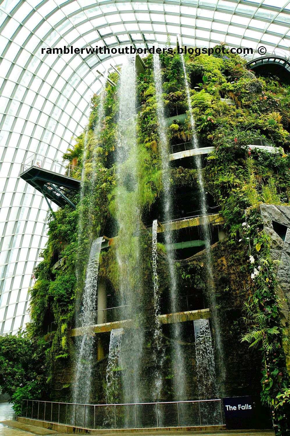 Waterfall from the man-made Cloud Mountain, Gardens by the Bay, Singapore
