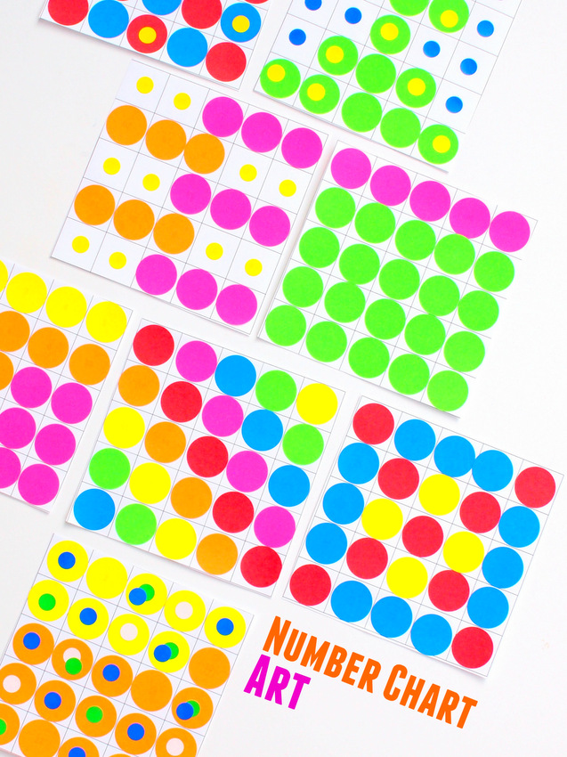 Number Chart Art- Practice number recognition, patterns, addition, subtraction, and multiplication all while making beautiful works of art!