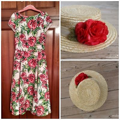 Vestido estampado con flores rojas, hojas verdes y fondo blanco largo midi con canotier by malonsilla de copa baja con flores rojas