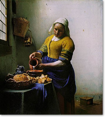 """The Milkmaid"" by Vermeer c. 1657–1658 (uncertain date)_psartworks.in"