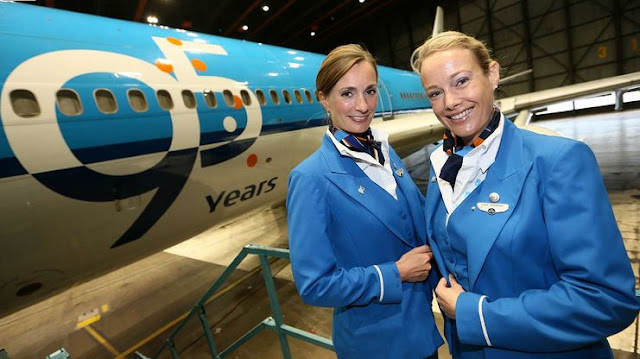KLM '95 Years Logo' and Flight Attendant