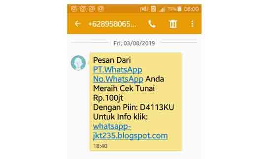 Inilah SMS Penipuan yang saya terima, dan sudah saya hapus,  Jika anda menerima SMS SMS seperti ini segera hapus saja.  Sepesai perkara