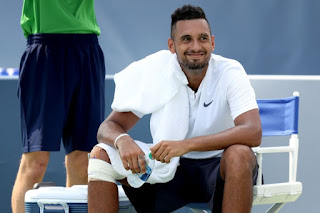 Nick Kyrgios forgot to bring his tennis shoes to a match