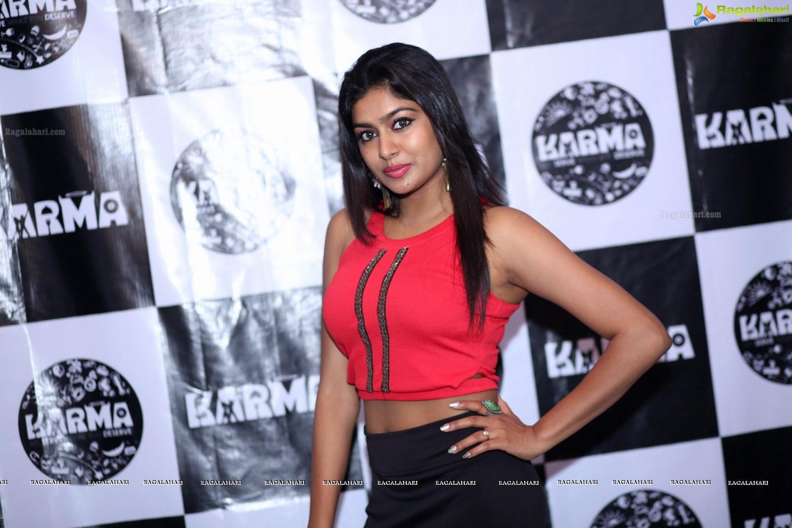 Sai Akshatha in red dress beautiful arm pits