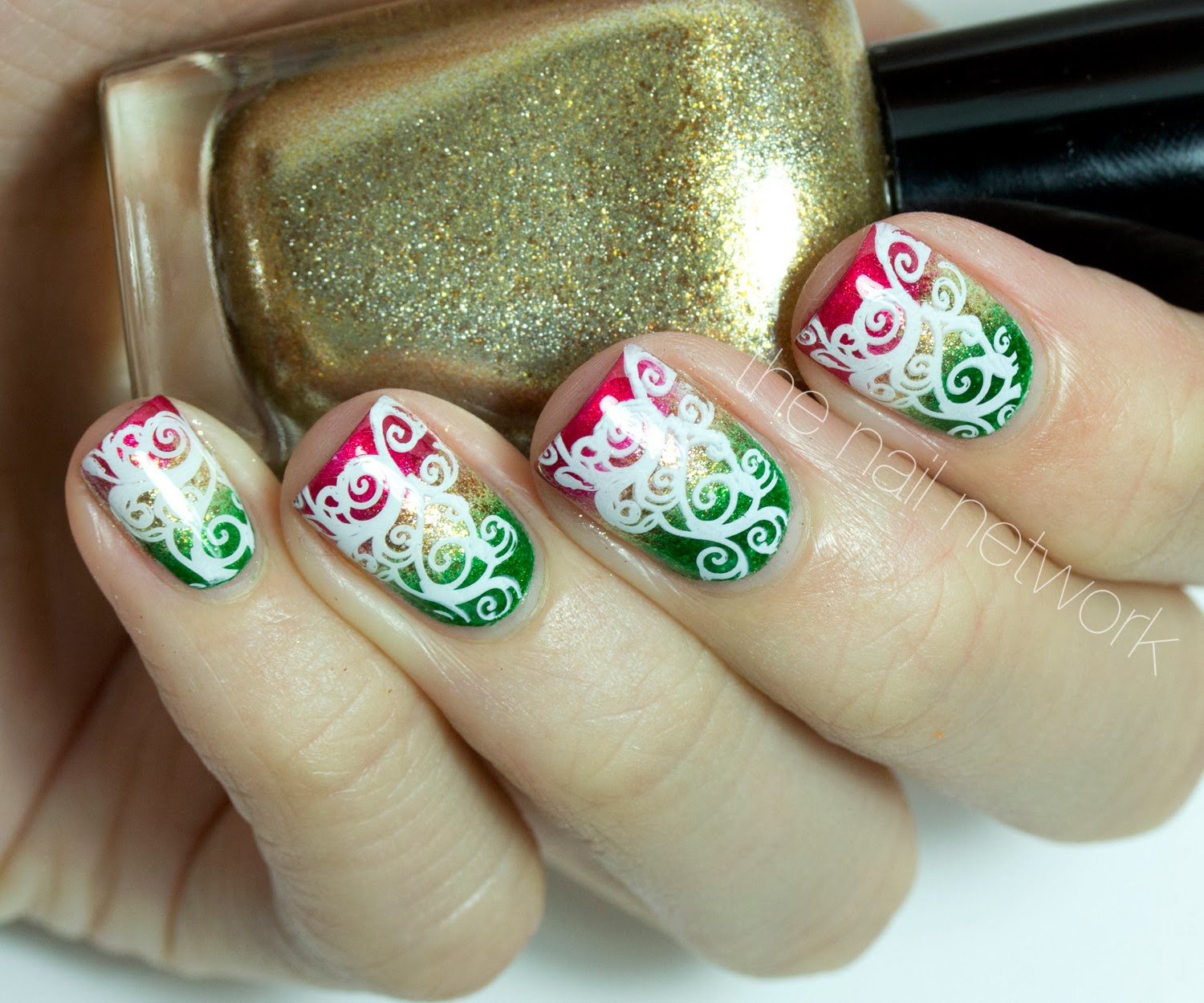 The Nail Network Tdocnas Day 12 Festive Stamped Scroll Design